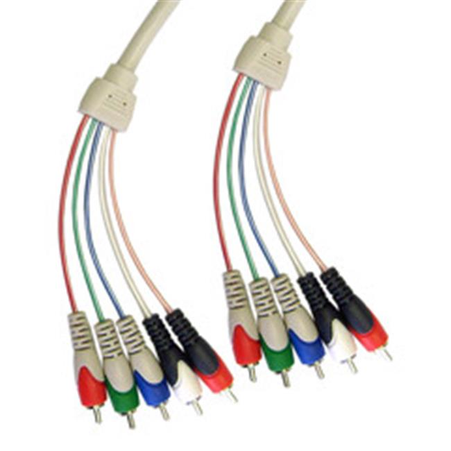 CableWholesale 10V2-13106 RCA Component Video With Audio Cable  3 RCA Male (RGB) and 2 RCA Male (Audio)  6 foot