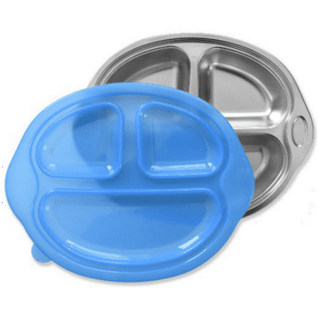 Happy Foodie, Stainless Steel Divided kids plate with Blue
