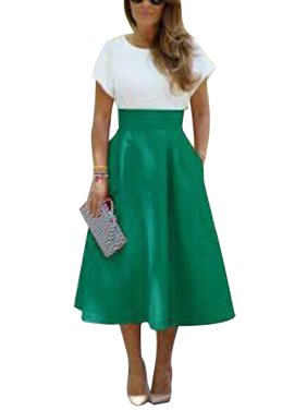 Women 50s 60s High Waist Party Evening Vintage  Pocket Casual Umbrella Dress Pin Up Long Midi A-Line Swing Circle Skater Skirts