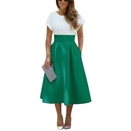 Women 50s 60s High Waist Party Evening Vintage  Pocket Casual Umbrella Dress Pin Up Long Midi A-Line Swing Circle Skater Skirts (60s 70s Dress Up)