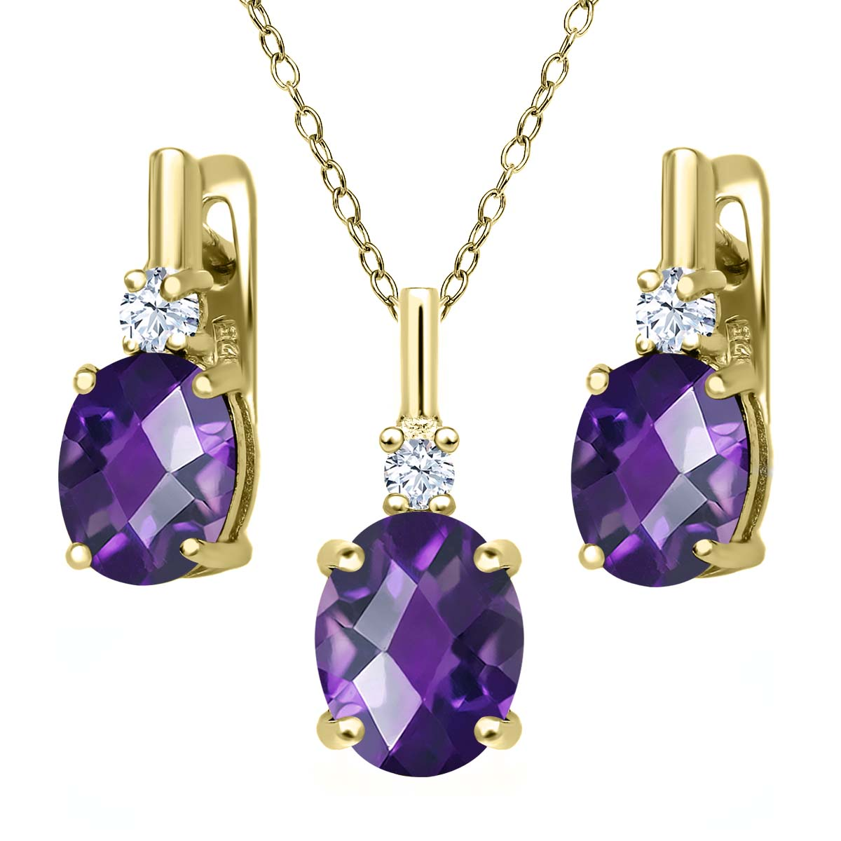 4.85 Ct Oval Checkerboard Purple Amethyst 18K Yellow Gold Plated Silver Pendant Earrings Set by