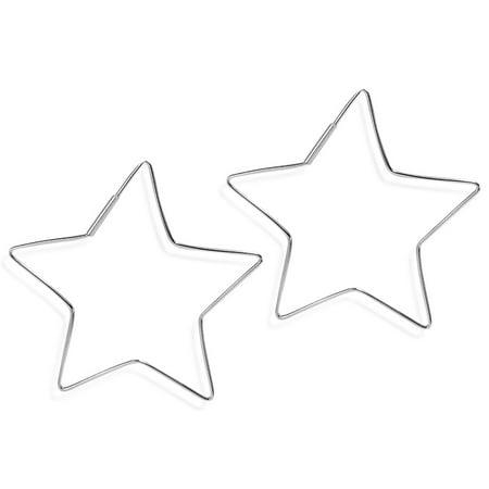 55mm Groovy Star Shape Hoop .925 Silver Earrings