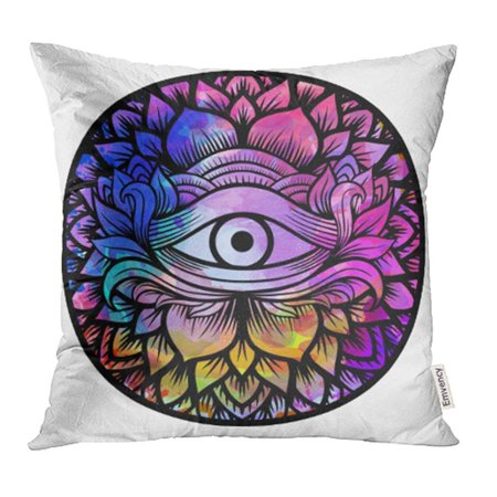 - ARHOME Third Eye with Floral Mandala Zentangle Hand Drawing Line Boho Chic Best for Adult Pillow Case Pillow Cover 18x18 inch Throw Pillow Covers