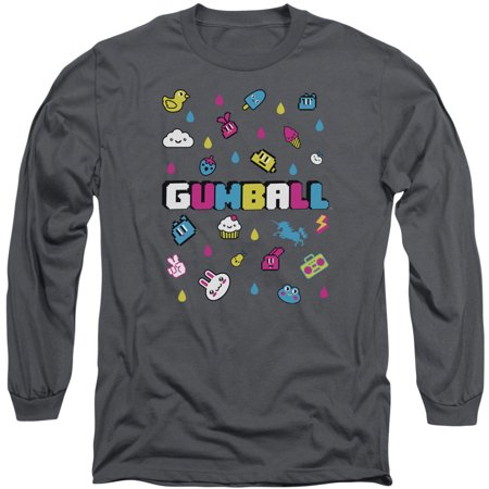 Amazing World Of Gumball Men's  Fun Drops Long Sleeve Charcoal (The Amazing World Of Gumball The Skull)