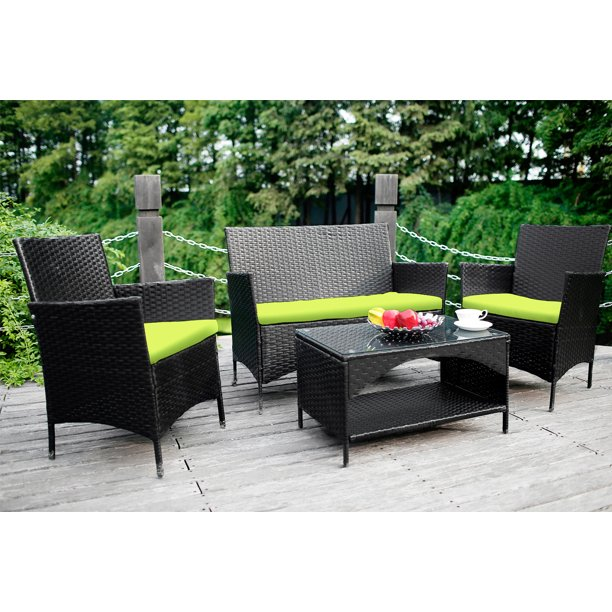 Merax 4 Piece Rattan Deep Sofa Seating Group With Cushion Walmart Com Walmart Com