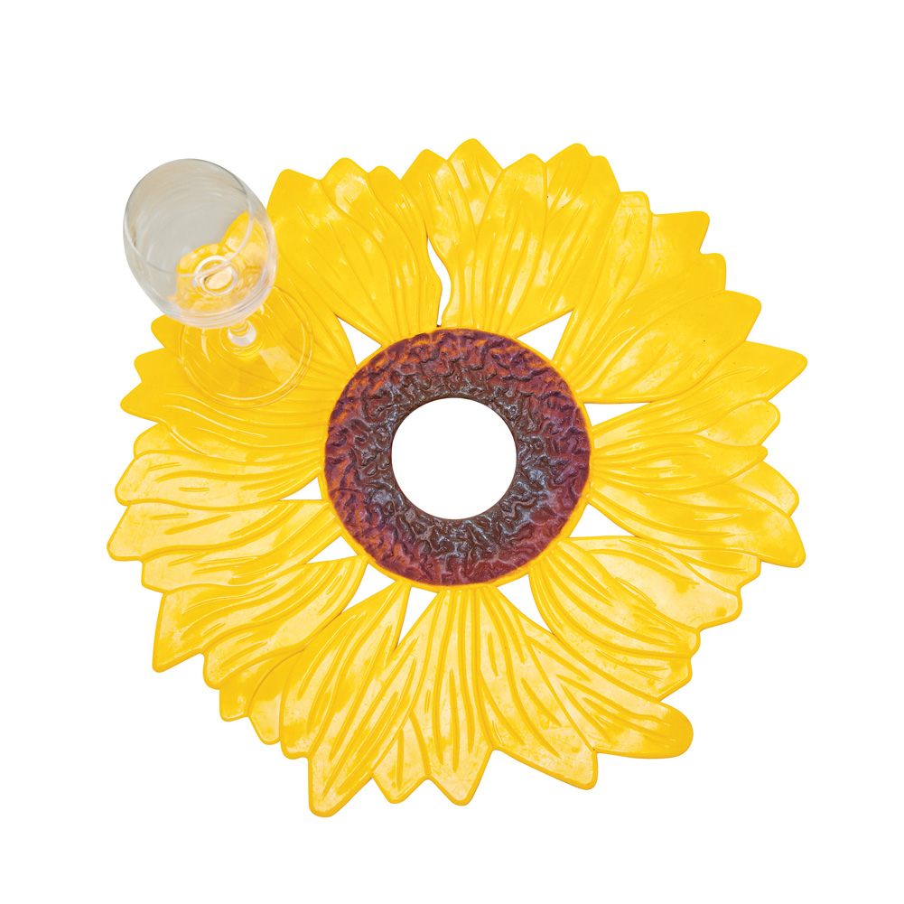 Sunflower Sink Mats Set, Decorative Sink Protector, Skid-Resistant with Drain Hole, 2 pc, Sunflower