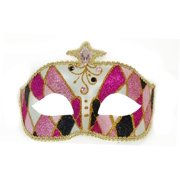 Venetian Party Fantasy Adult Costume Mask Pink