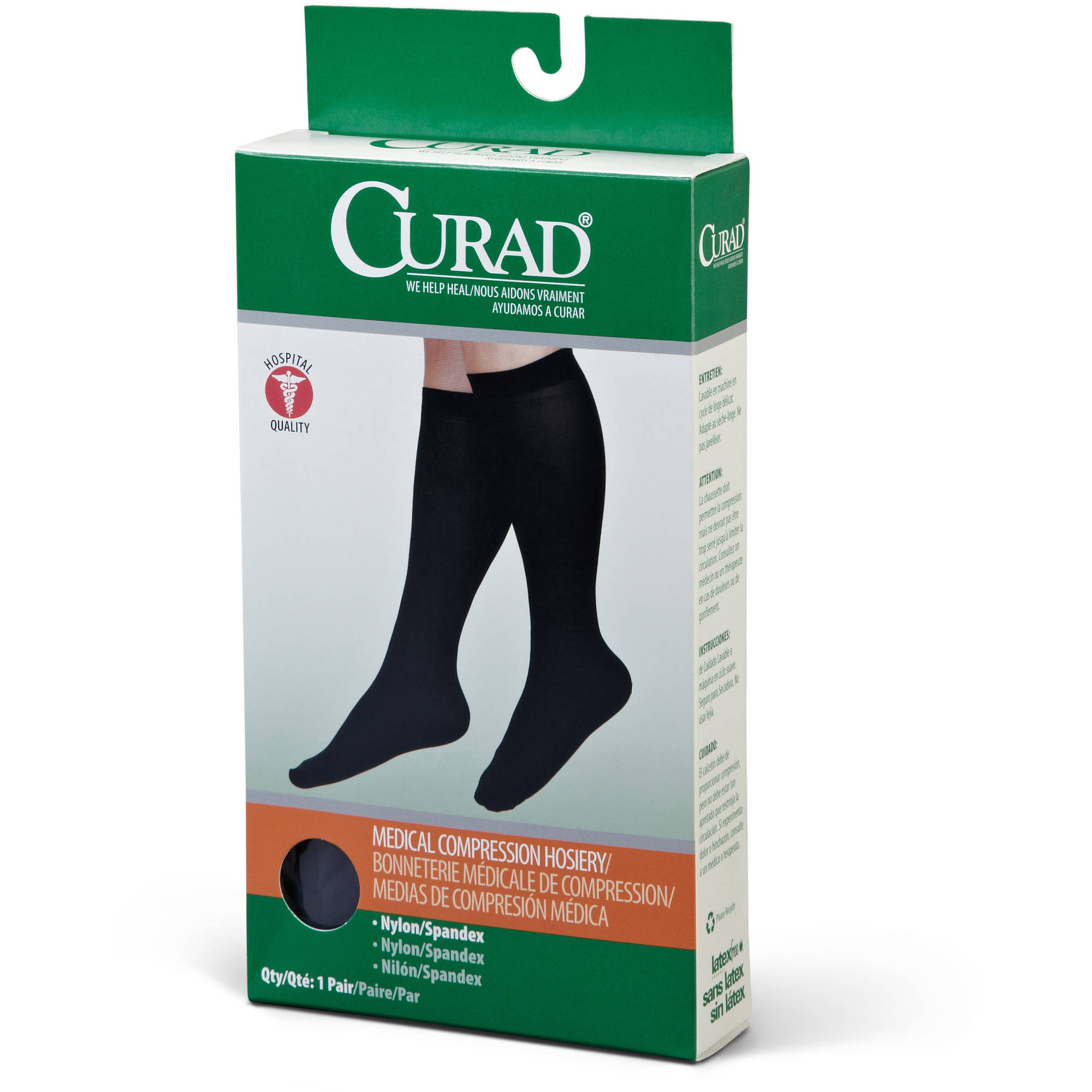 Curad Knee-High Compression Hosiery 15-20mmHg