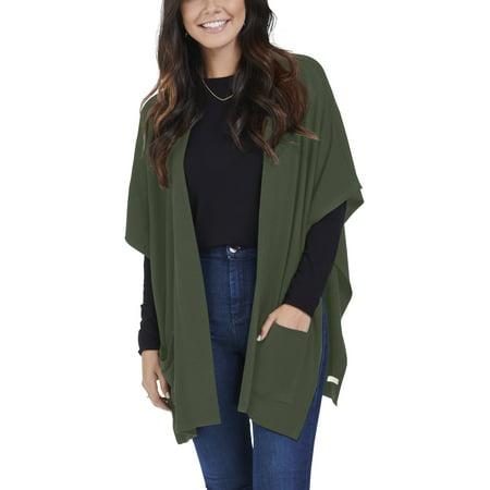 Women's Brushed Fleece Blanket Cape Cardigan