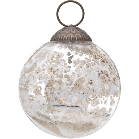 Luna Bazaar Large Mercury Glass Ball Ornament (3-Inch, Silver, Penina Design, Single) - Great Gift Idea, Vintage-Style Decorations for Christmas, Special Occasions, Home Decor and Parties ()
