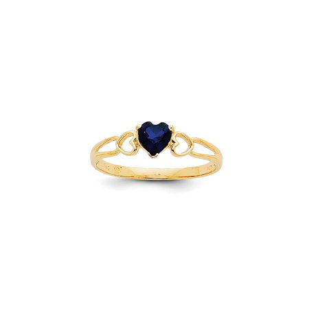 Solid 14k Yellow Gold Heart Simulated Sapphire Simulated Birthstone Ring (5mm) - Size 4 Brilliant Yellow Sapphire Gem