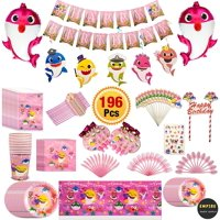 Pink Baby Shark Party Supplies Set & Tableware Kit   Birthday Decorations Bunting, Disposable Paper Plates, Cups, Napkins, Straws, Plastic Table Cloth, Balloons &Tattoo Stickers (196 Pcs)