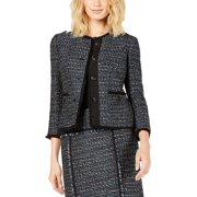 Anne Klein Womens Tweed Fringe Trim Four-Button Blazer