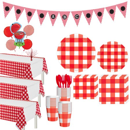 Party America Union City (Party City American Summer Red Gingham Party Supplies for 32 Guests, 218 Pieces, Includes Tableware and)