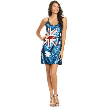Anna-Kaci Fashion Womens Sequin Australian Flag Bodycon Spaghetti Strap Sleeveless Party Dress Costume - Ladies Costumes Australia