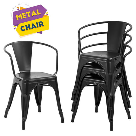 Dining Chairs Set Of 4 Indoor Outdoor Chairs Patio Chairs Furniture Kitchen Metal Chairs 18 Inch Seat Height Restaurant Chair Tolix Side Metal Stackable Bar Chairs 330LBS Weight Capacity ()