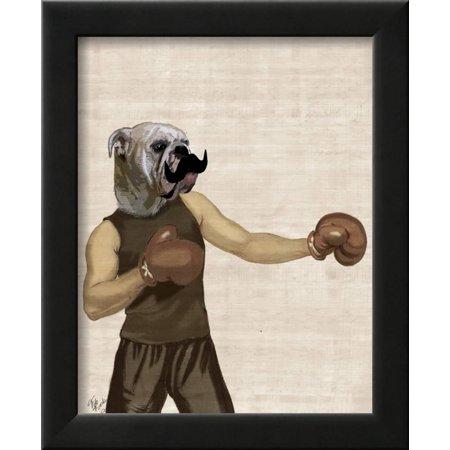 Boxing Bulldog Portrait Framed Print Wall Art By Fab Funky - Walmart.com