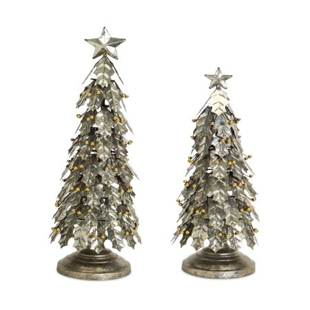 Silver Leaf Finish Wall - Set of 2 Silver Colored Distress Finished Decorative Holly Leaf Tree 18