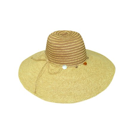 Wide Brim Bead (Natural Wide Brim Floppy Hat With Beaded Headband )