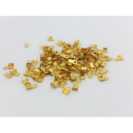 150 PCS - Fits 2.5mm Width Cording Ribbon Fold Over Crimp Cord Clamp Finding End Gold Connector C1588