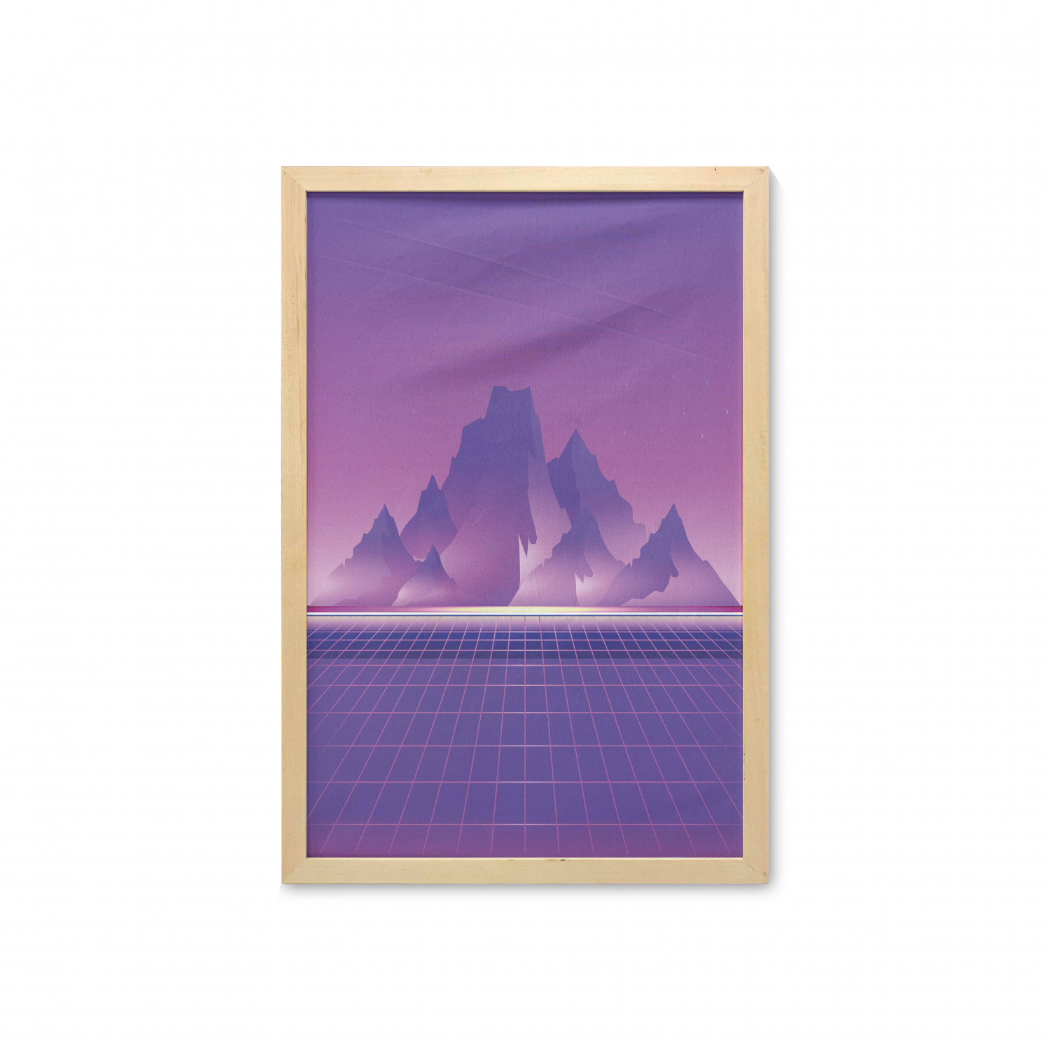Synthwave Wall Art With Frame Retro Sci Fi Design Of Mountains And Retro Wave Computer Lover Squares Printed Fabric Poster For Bathroom Living Room 23 X 35 Mauve Pale Fuchsia By Ambesonne