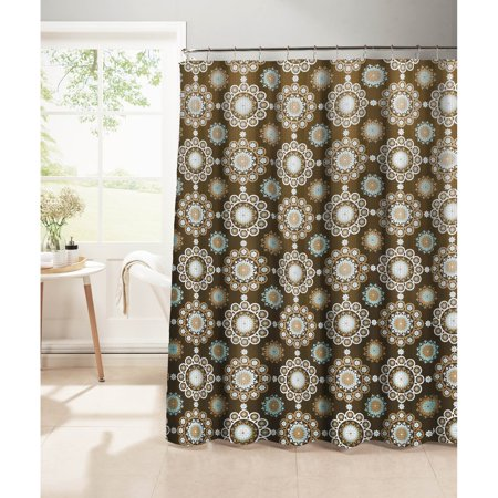 Moroccan Tile Waffle Weave Textured Shower Curtain with Metal Roller ...