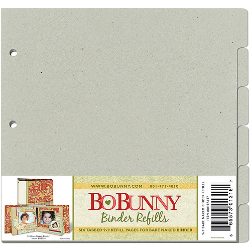 "Bo Bunny 3-Ring Bare Naked Binder Pages, 9"" x 9"", 6pk"