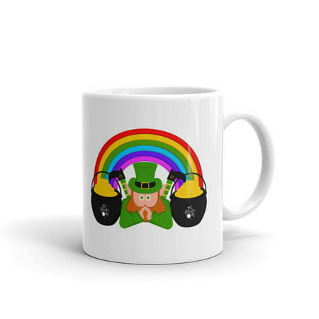 Irish Elf With Gold Coins Pots And A Rainbow Coffee Tea Ceramic Mug Office Work Cup Gift 11 oz - Rainbow With Pot Of Gold