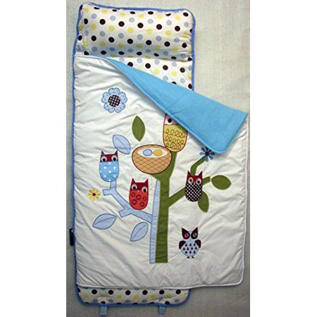 SoHo Nap Mat for Toddlers, Blue Owl Tree, With Pillow and Carrying Strap for Preschool or Daycare