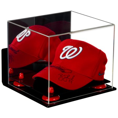 Deluxe Acrylic Baseball Cap Display Case with Red Risers Mirror and Wall Mount (A006-RR) Wall Mounted Acrylic Cap Case