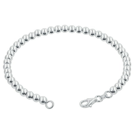 Personalized Silver Bead Bracelet (Gem Avenue 925 Sterling Silver 4mm Beads Bracelet With Lobster Clasp (7 - 8 inch Available))