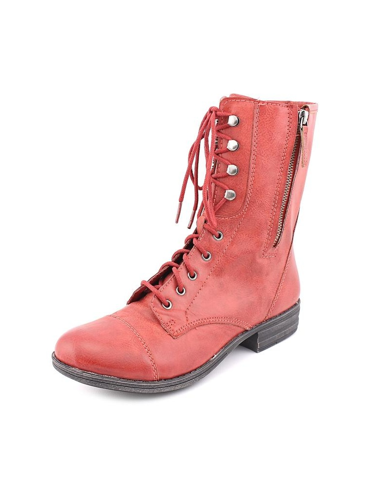 Deputy Women Round Toe Synthetic Red Mid Calf Boot