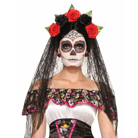 Day Of The Dead Black Veil With Flowered Headband F74922 (Black Veil Headband)