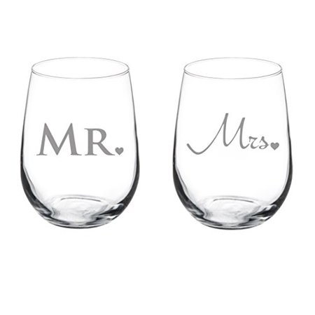 Pair of 17 oz Stemless Wine Glass (2) Married Couple Mr. and -