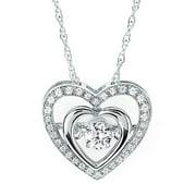 Boston Bay Diamonds Brilliance in Motion Sterling Silver .25ct TDW Double Heart Diamond Pendant w/ Chain