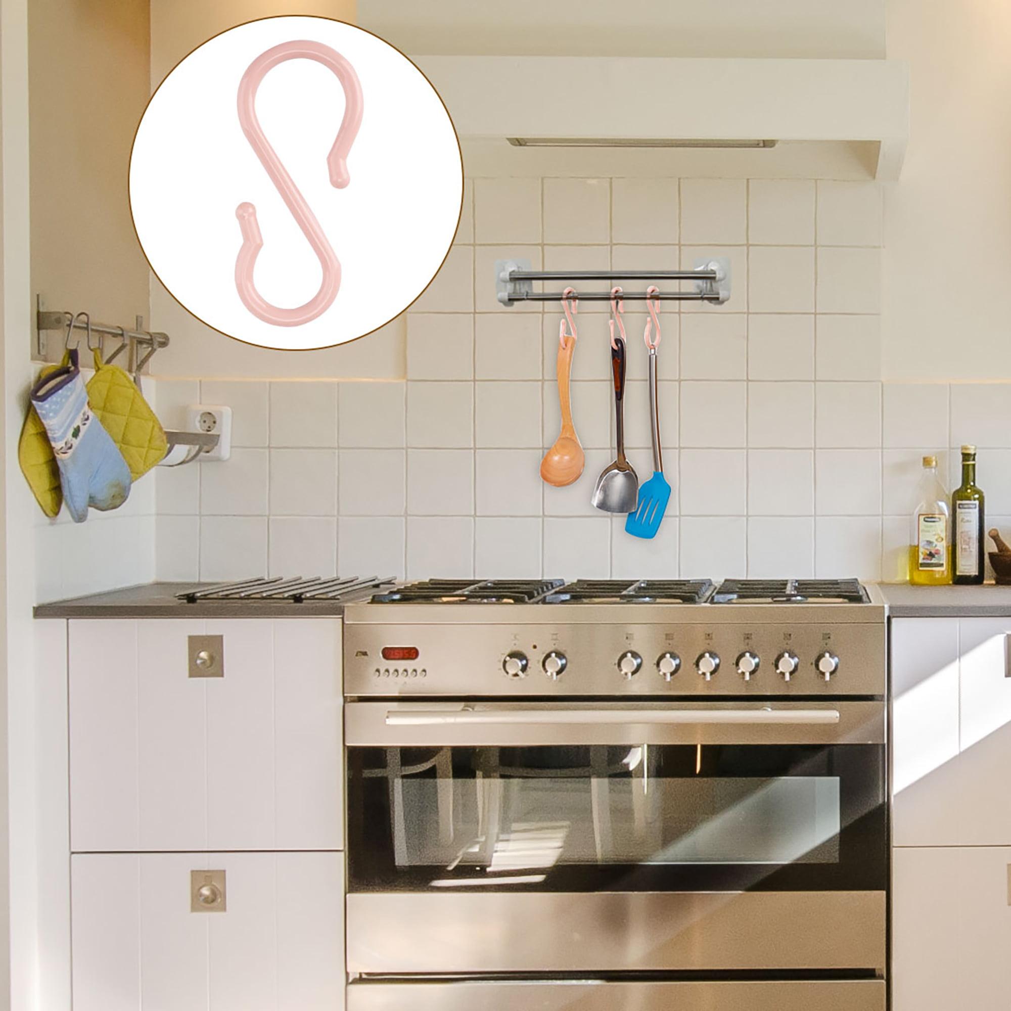 100X Plastic S Shaped Hanging Hooks Hanger for Kitchen Bathroom Bedroom