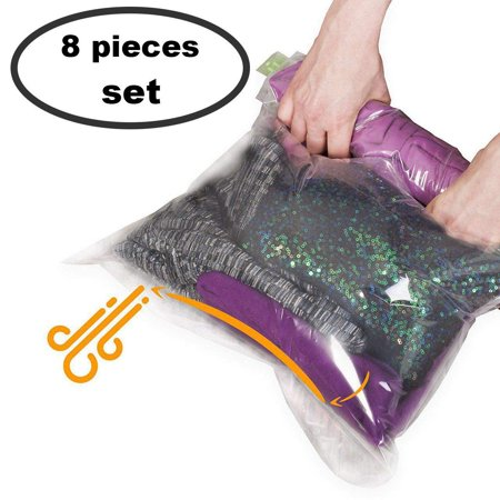 8 Travel Space Saver Bags - No Vacuum or Pump Needed - for Clothes - Reusable - Luggage Compression - Set of 4 L and 4 M Sacks - Transparent Reusable Expandable Transit Sack