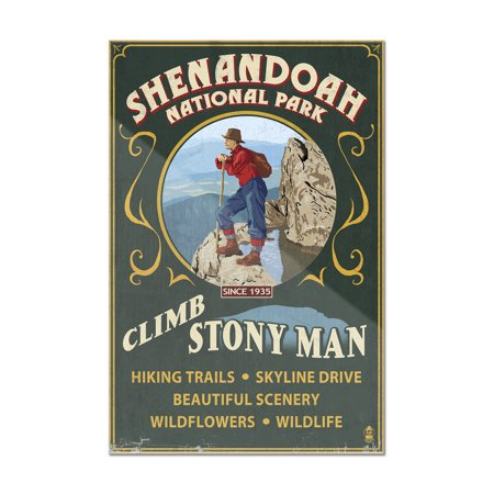 Shenandoah National Park, Virginia - Climb Stony Man Vintage Sign - Lantern Press Artwork (8x12 Acrylic Wall Art Gallery Quality)