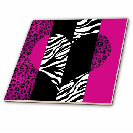 3dRose Pink Black and White Animal Print - Leopard and Zebra Heart - Ceramic Tile, 4-inch