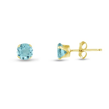Round 2mm 14k Gold Plated Sterling Silver Simulated Aquamarine CZ Stud Earrings, Free Gift Box included
