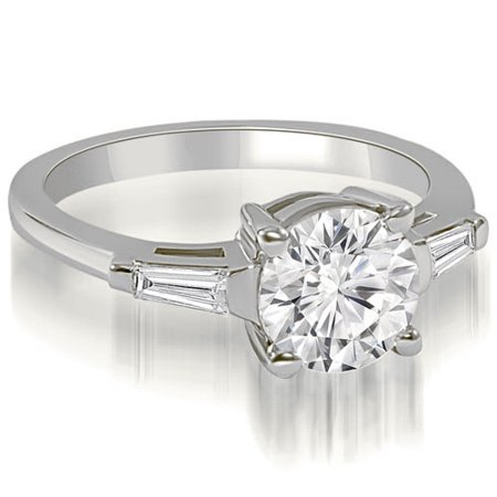 1.15 CT.TW Round Baguette Three Stone Diamond Engagement Ring in 14K White, Yellow Or Rose (6 Diamond Baguette Stone Ring)