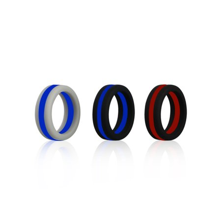 TSV 3 Pack Silicone Wedding Ring for Women Men Strips Series Sport Silicone Rubber Ring (Word Series Ring)