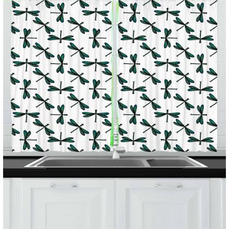 Dragonfly Stripe (Green and Black Curtains 2 Panels Set, Cartoon Dragonfly Pattern with Striped Wings Ornamental Design, Window Drapes for Living Room Bedroom, 55W X 39L Inches, Sea Green and Black, by)