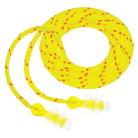 Tri-Flange Earplugs, Elastomeric Polymer, Cloth Cord, 400 pairs/case