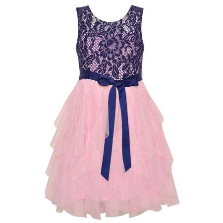 f73e1e5a011 Rare Editions - Rare Editions Little Girls Lace Navy Pink Cascade Ruffle  Occasion Dress - Walmart.com