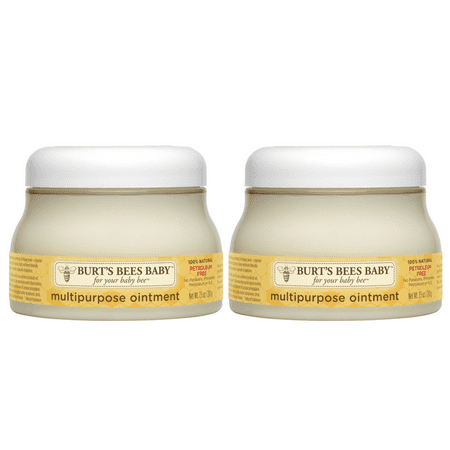 (2 pack) Burt's Bees Baby 100% Natural Multipurpose Ointment, Face & Body Baby Ointment 7.5 Ounce Tub The smooth rich texture of Burts Bees Baby Multipurpose Ointment forms a barrier against dryness leaving you with one soft happy baby. This multipurpose, non-irritating, petroleum free multipurpose ointment is pediatrician tested to be gentle and safe for everyday use. Apply ointment to babys body to moisturize and smooth babys skin. To calm your little ones sensitive diaper area, cleanse babys diaper area and apply ointment liberally. This jar of 100% natural baby ointment contains no phthalates, parabens, petrolatum or SLS. Nurture babys skin naturally with Baby Bee from Burts Bees.