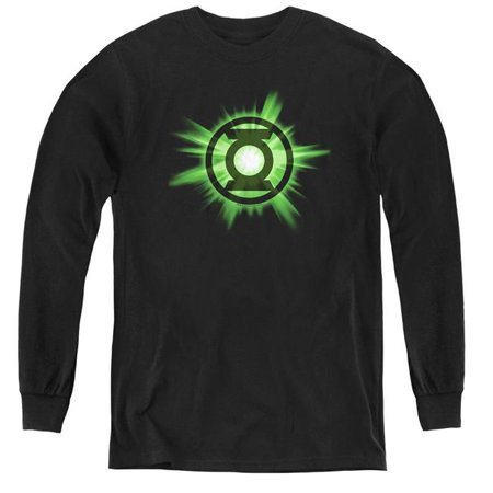 Trevco Sportswear GL291-YL-4 Green Lantern & Green Glow Youth Long Sleeve T-Shirt,  Black - Extra Large - image 1 de 1