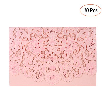 10pcs Pearl Paper Embossment Invitation Cards Invitation Holders for Wedding Birthday Party Anniversay--Pink](Invitation For Wedding)