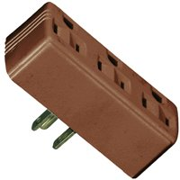 - Eaton Wiring Devices BP1147B Grounded Outlet Adapter, 15 A, 2-Pole, 3-Outlet, Brown