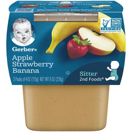 (4 Pack) Gerber 2nd Foods Apple Strawberry Banana Baby Food, 4 oz. Tubs, 2 Count